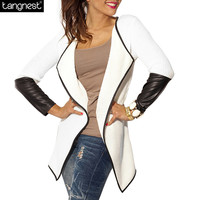 Autumn Slim Leather Sittching Cardigan For Woman 2016 New OL Fashion Casual Turn Down Collar Coat WWK451