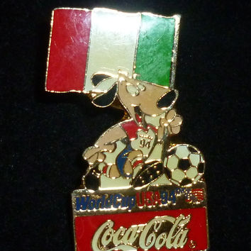 Italy Worldcup Soccer 1994 Dog Coca Cola Pin
