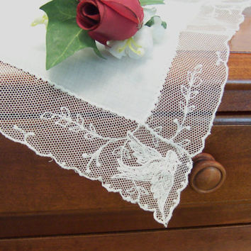 Bride's Lace Wedding Hanky Love Birds Ecru Vintage Handkerchief Something Old