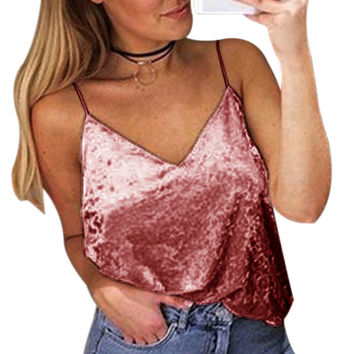 Blusas 2017 Sexy Summer Velvet Crop Top Casual V-Neck Strap Vest Blouses Tunic Shirt Tee Tops Camis Shirts Camisas Mujer 4 Color