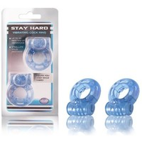 Blush Stay Hard Vibrating Cock Ring 2 Pack  Blue