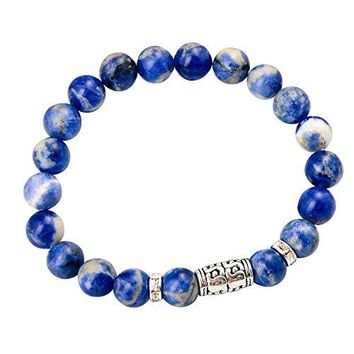 JoyaGift Elastic Stretch 8MM Round Beads Bracelet with Alloy Beads and Crystal Rondelles