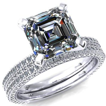 Mariyah Asscher Moissanite 4 Prong 3/4 Eternity 3 Sided Diamond Shank Engagement Ring