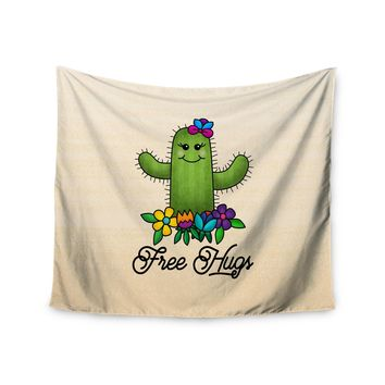 Noonday Design Free Hugs Cactus Green Pastel Wall Tapestry