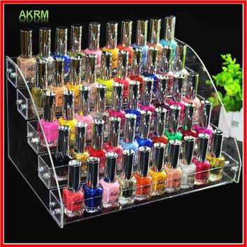 Fashion Clear 5 Layers Nail Polish Rack Varnish Display Makeup Storage Organizer Shelf Cosmetic Organizer Household Storage