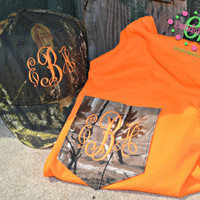MONOGRAMMED Camo Patterned Pocket Tee and Matching Hat - Short Sleeve - Hunting - Girls - Women - Fluorescent Orange - Deer