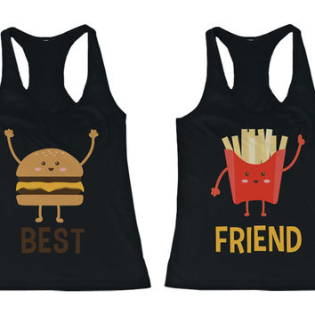 Burger and Fries BFF Tank Tops Best Friend Matching Tanks Sleeveless Shirts