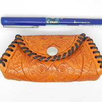 Floral Hand Carved Leather Purses, Hand Tooled Leather Coin Purse, Hand Laced Leather Make Up Case, Tinas Leather Crafts