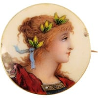 Delicate 1890s enamel portrait of beautiful girl, 18K stamped French solid gold and rose cut diamonds brooch