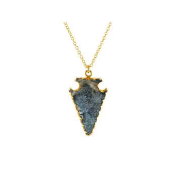 18k Gold Plated SIlver Drusy-Quartz Arrowhead Necklace, 16""