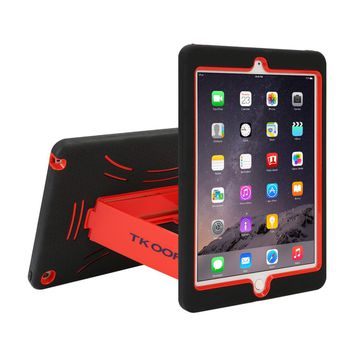 For iPad air 2 Heavy Duty Shockproof Case For iPad Air 2 Rugged Hard Skin Rubber Hybrid Cover Stand for ipad air cover