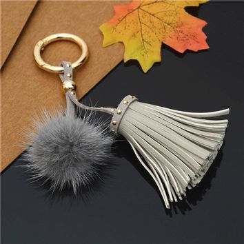 Leather Tassels With Mink Fur Ball Key Chain