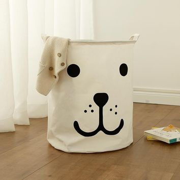 Portable Laundry basket toy storage bag large box Cotton Linen washing clothes basket sleep bear 40*50 sundries storage