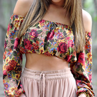 Wildflower Crop Top: Tan/Multi | Hope's