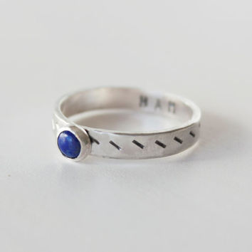 Throat Chakra Ring, Sterling Silver Lapis Stacking ring, Mantra ring, lapis ring, Throat chakra, yoga ring, pattern jewelry, blue ring