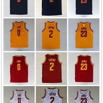 Men's Stitched #0 Kevin Love #2 Kyrie Irving #23 James Blue/White/Red/Yellow Replica Basketball Jersey Free Drop Shipping Mix Order