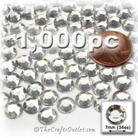 The Crafts Outlet 1000-Piece Flat Back Loose Acrylic Round Rhinestones, 7mm, Crystal Clear