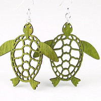 Sea Turtles - Laser Cut Wood Earrnings - from Sustainable Resources
