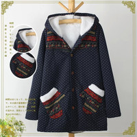Dot Geometric Print Long-Sleeve Hoodie Button Parka
