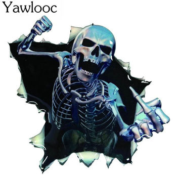 Yawlooc 2017 Car Vinyl Skull Skeleton Stickers Truck Window Wrap Decals Motorcycle Helmet Funny Sticker Car Styling Badge