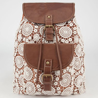 Crochet Overlay Backpack Cognac One Size For Women 23490240901