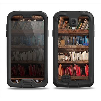 The Vintage Bookcase V1 Samsung Galaxy S4 LifeProof Fre Case Skin Set