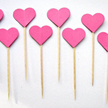 10 Hot Pink Heart Cupcake Toppers - wedding, engagement, birthday, baby shower, tea party