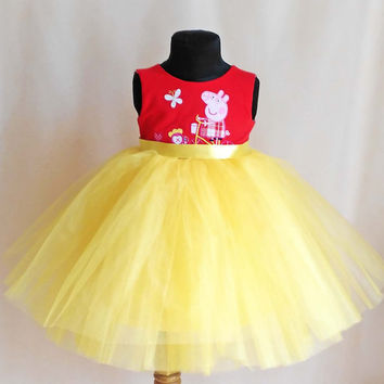 Soft Red and Yellow Peppa Pig Birthday Dress, Peppa Pig Party, Peppa Pig Outfit