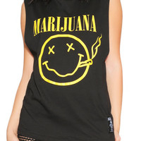 The Marijuana Muscle Tank Top in Black