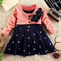 New Autumn Spring Children Clothing girls polka dot dress long-sleeve baby kids clothes girls princess dress SV005851|26601 Children's Clothing