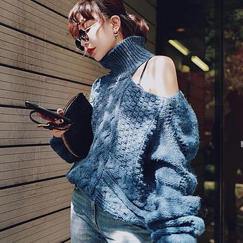Bare Shoulder Cable Knit Turtleneck Loose Women Pullover Sweater
