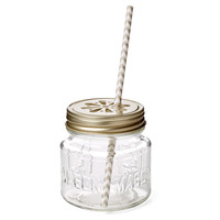 S/12 Mason Jar Sippers, Gray Chevron