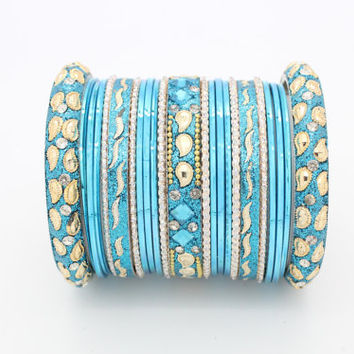 23 Turquoise Gold Silver Diamante Indian Bangles Indian Churi Bollywood Glitter Mirror work Bridal Wedding Indian Churis Bracelets Kangan