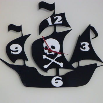 Pirate Ship Clock by ikandi gifts and decor by ikandi11 on Etsy