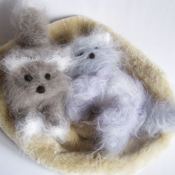 Cute Fluffy Kittens - Hand Knitted Kittens -Stuffed Animal Baby Toy - Mohair Knitted Home Decoration - Set of 2 Kittens