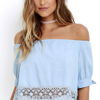 No Place Like Home Blue Chambray Lace Crop Top
