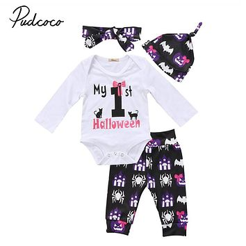 Newborn Baby Boys Girls Clothes Set Black Tops Letter Long Sleeve Bodysuit Long Pants Halloween Hat Pumpkin Outfits 3PCS