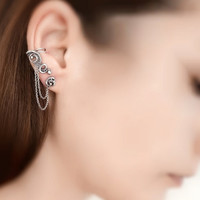 Cartilage Chain Earrings - Silver Ear Cuff - Fake Helix Piercings - Cuff Chain Earring - Earring Studs  - Plain Silver Collection