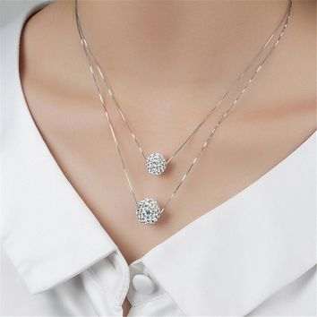 Womens Double Crystal Ball Crystal Pendant Necklace +Gift Box