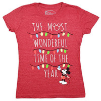 Disney Mickey Mouse Christmas Wonderful Time Of The Year Juniors T-shirt