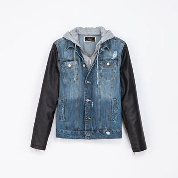 DENIM JACKET WITH FAUX LEATHER SLEEVES - Coats and Jackets - Man | ZARA United States