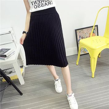 Women's Cute Pleated Korean Midi Skirt 2016 Autumn Winter Casual High Waist Stretchy Knitted Cotton Wool Slim Black Skirts SK104