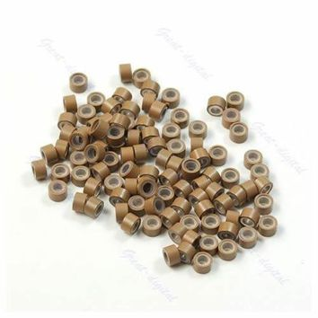 Lot of 100 pcs Silicone Micro Ring Feather Hair Extensions Crimp Beads khaki