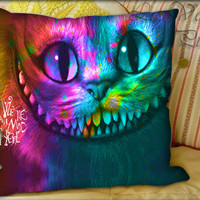 Alice in Wonderland Were All Mad Here Nebula - Pillow Cover and Pillow Case.