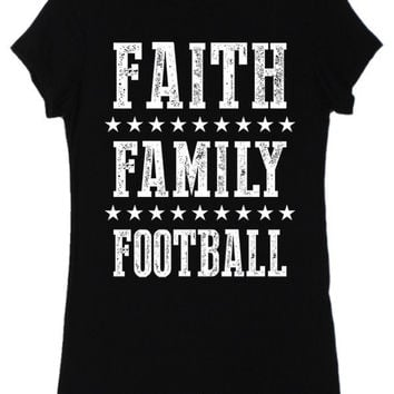 Color Bear Women's Faith Family Football Shirt Regular and Plus Size Black