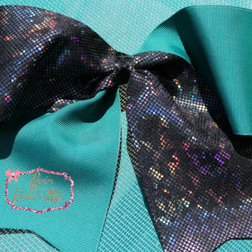 Hologram Black and Teal Cheer Bow