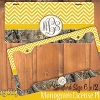 Yellow Chevron Camo Monogram License Plate Frame Holder Metal Wall Sign Tags Personalized Custom Vanity Plate