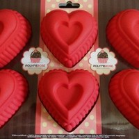 Silicone HEARTS mold for desserts, muffins, gellatin, soap, crafts, etc. - 6 Cavity - By Polymerose T.M.