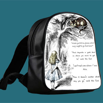Cat Cheshire Quote for Backpack / Custom Bag / School Bag / Children Bag / Custom School Bag *