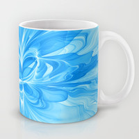 Blue Jeans Colors And White, Abstract Art Mug by Gabiw Art